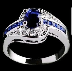 New alloy blue sapphire ring women